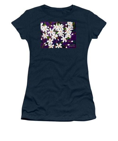 Dancing Coral Jasmines Women's T-Shirt (Junior Cut) by Latha Gokuldas Panicker