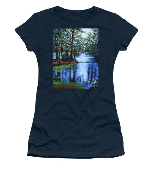 Women's T-Shirt (Junior Cut) featuring the painting Dancing Waters by Penny Birch-Williams