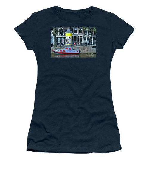 Women's T-Shirt (Junior Cut) featuring the photograph Docked In Amsterdam by Allen Beatty