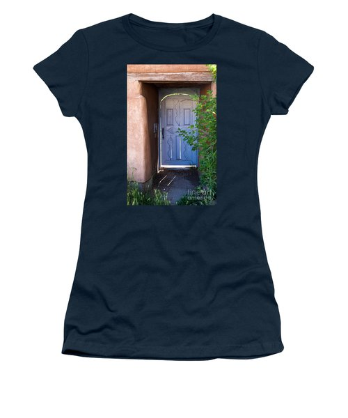 Women's T-Shirt (Junior Cut) featuring the photograph Doors Of Santa Fe by Roselynne Broussard