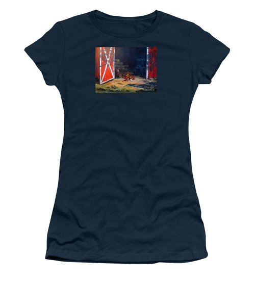Women's T-Shirt (Junior Cut) featuring the painting Down On The Farm by Lee Piper