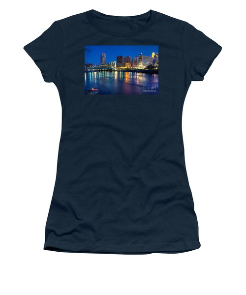 Downtown Minneapolis Skyline Hennepin Avenue Bridge Women's T-Shirt (Athletic Fit)