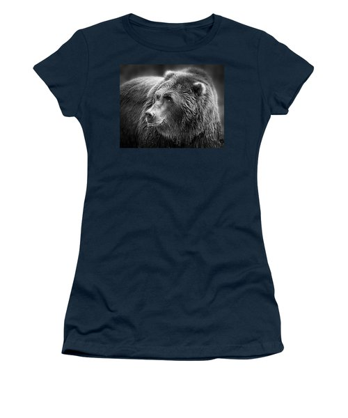 Drinking Grizzly Bear Black And White Women's T-Shirt (Junior Cut) by Steve McKinzie
