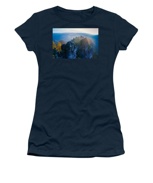 Early Morning Mist At The Bastei In The Saxon Switzerland Women's T-Shirt