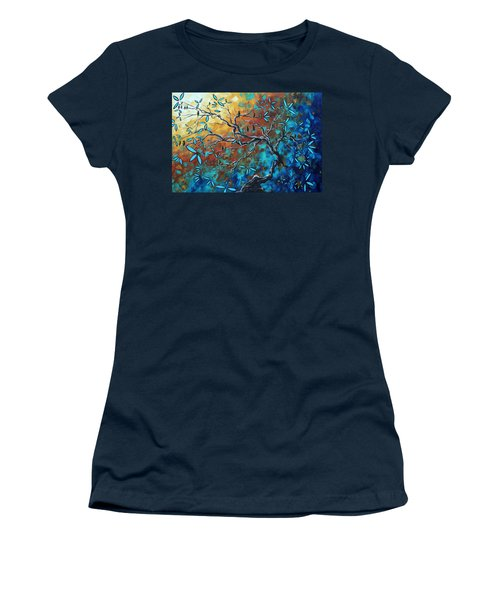 Enormous Abstract Bird Art Original Painting Where The Heart Is By Madart Women's T-Shirt