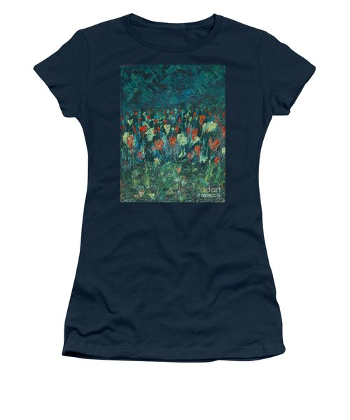 Women's T-Shirt (Junior Cut) featuring the painting Evening Buds by Mini Arora