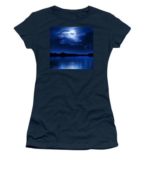 Fantasy Moon And Clouds Over Water Women's T-Shirt (Junior Cut) by Johan Swanepoel