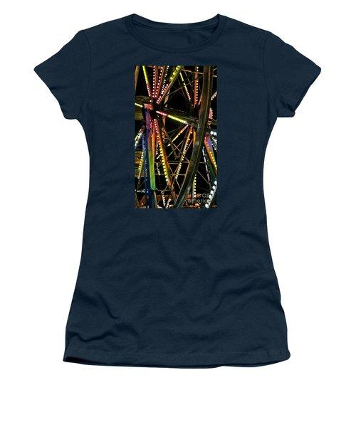 Women's T-Shirt (Junior Cut) featuring the photograph Lit Ferris Wheel  by Lilliana Mendez