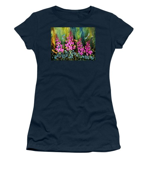 Fireweed And Dragonflies Women's T-Shirt (Junior Cut) by Teresa Ascone