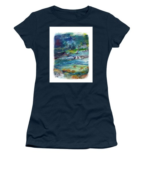Women's T-Shirt (Junior Cut) featuring the painting Fishin' Hole 2 by C Sitton