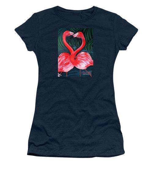 Flamingo Love Card Women's T-Shirt (Junior Cut) by Oksana Semenchenko