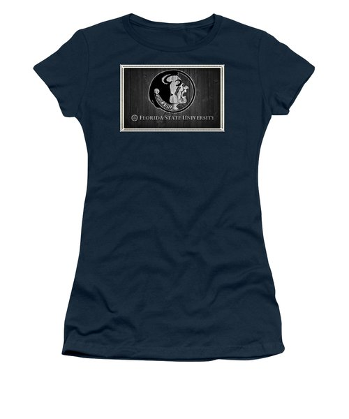 Florida State University Black And White Barn Door Women's T-Shirt (Athletic Fit)