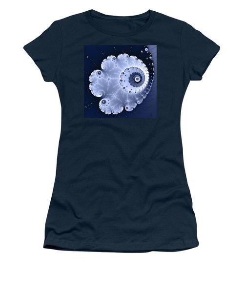 Fractal Spiral Light And Dark Blue Colors Women's T-Shirt (Junior Cut) by Matthias Hauser