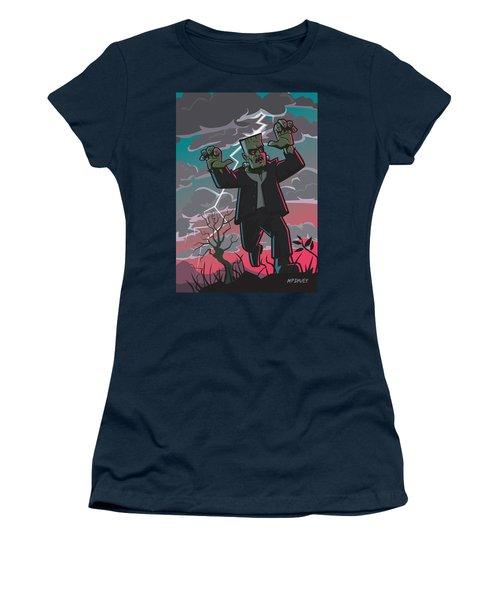 Frankenstein Creature In Storm  Women's T-Shirt (Junior Cut) by Martin Davey