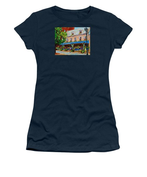 French Restaurant Jardin Nelson Paris Style Bistro Place Jacques Cartier Terrace Garden C Spandau   Women's T-Shirt