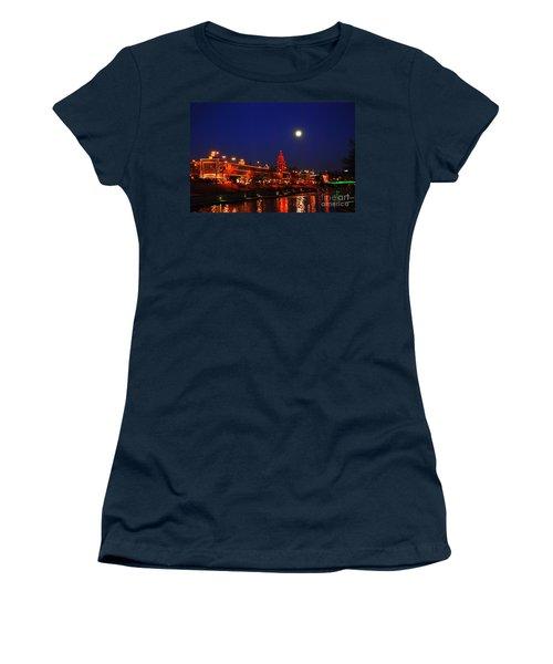 Full Moon Over Plaza Lights In Kansas City Women's T-Shirt (Junior Cut) by Catherine Sherman