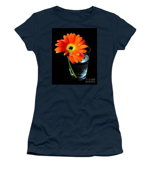 Gerbera Daisy In Glass Of Water Women's T-Shirt (Junior Cut) by Nina Ficur Feenan