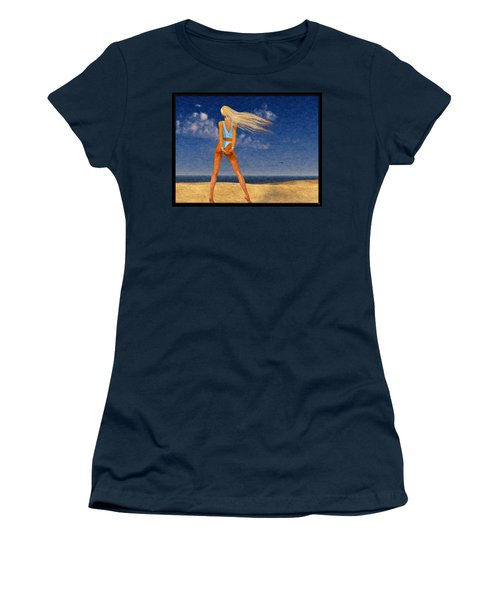 Girl On The Beach...watercolor Effected Women's T-Shirt (Athletic Fit)