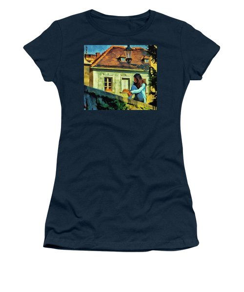Women's T-Shirt (Junior Cut) featuring the painting Girl Posing On Stone Wall by Jeff Kolker