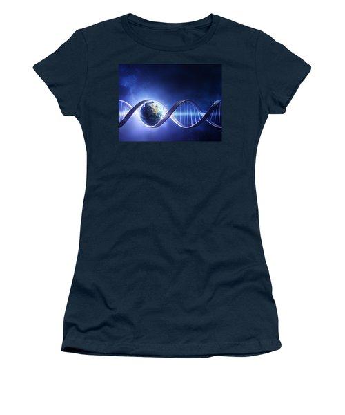 Glowing Earth Dna Strand Women's T-Shirt (Junior Cut) by Johan Swanepoel
