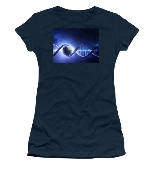 Glowing Earth Dna Strand Women's T-Shirt (Athletic Fit)
