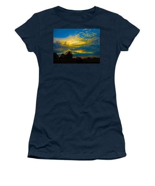 Gold And Blue Sunset Women's T-Shirt (Junior Cut) by Mark Blauhoefer