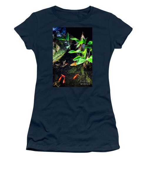 Women's T-Shirt (Junior Cut) featuring the photograph Goldfish In Pond by Silvia Ganora