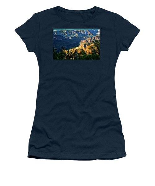 Women's T-Shirt (Junior Cut) featuring the photograph Grand Canyon  Golden Hour On Angel Point by Bob and Nadine Johnston