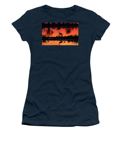 Great Blue Heron At Sunrise Women's T-Shirt (Junior Cut) by Allan Levin