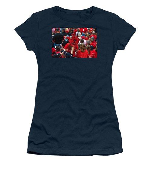 Women's T-Shirt featuring the photograph Guns-up Salute by Mae Wertz