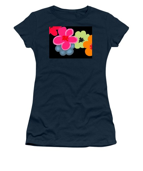 Women's T-Shirt (Junior Cut) featuring the digital art Happy Flowers Pink by Christine Fournier