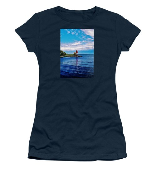 Women's T-Shirt (Junior Cut) featuring the photograph Harbor Light by Daniel Thompson