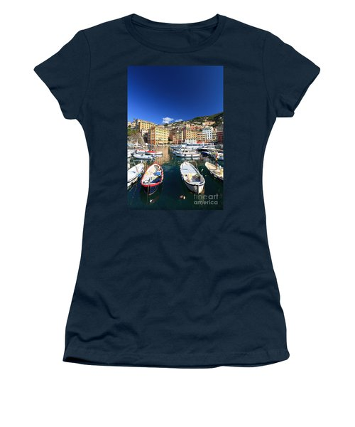 Women's T-Shirt (Junior Cut) featuring the photograph Harbor With Fishing Boats by Antonio Scarpi