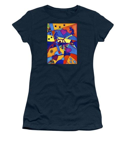 Women's T-Shirt (Junior Cut) featuring the painting Harvesting The Love Kokopelli Art  by Lori Miller
