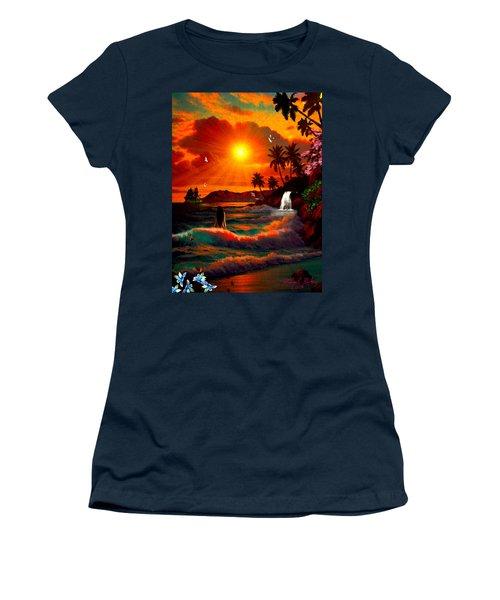 Hawaiian Islands Women's T-Shirt (Junior Cut) by Michael Rucker