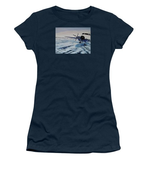 Women's T-Shirt (Junior Cut) featuring the painting Hawker - Airplane On Ice by Marilyn  McNish