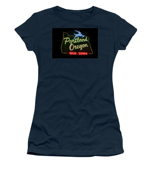 Historic Portland Oregon Old Town Sign Women's T-Shirt (Athletic Fit)