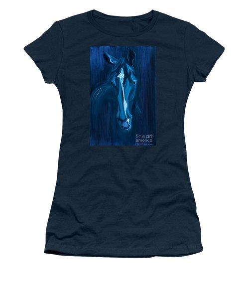 horse - Apple indigo Women's T-Shirt (Junior Cut) by Go Van Kampen