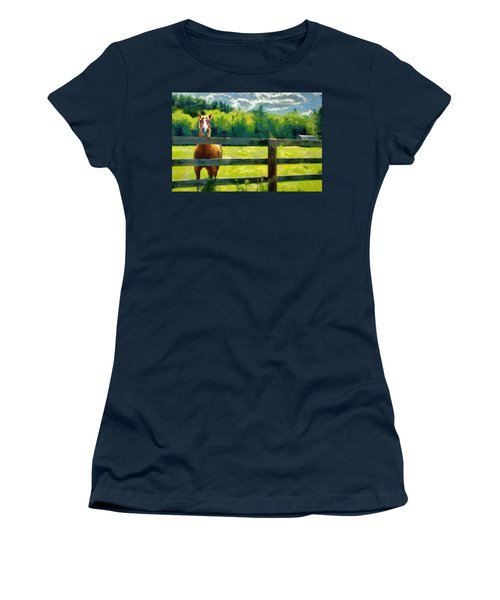 Women's T-Shirt (Junior Cut) featuring the painting Horse In The Field by Jeff Kolker