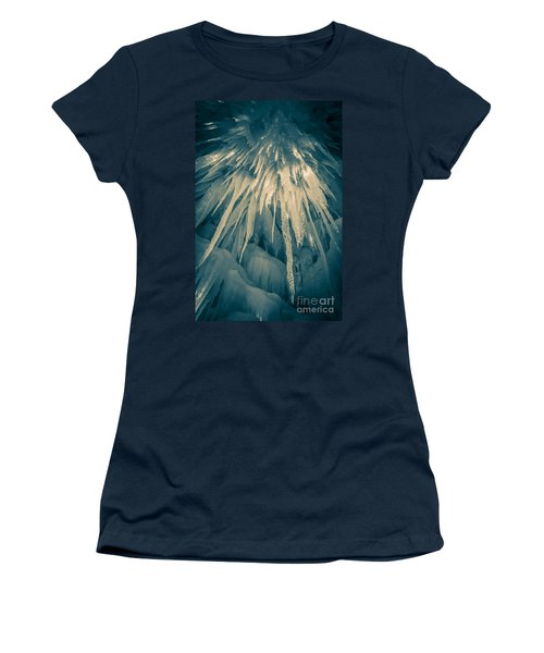 Ice Cave Women's T-Shirt (Junior Cut) by Edward Fielding