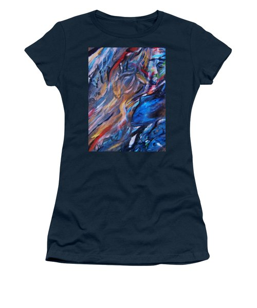 Women's T-Shirt (Junior Cut) featuring the painting In The Blue by Dawn Fisher