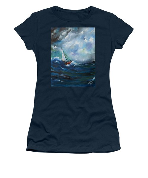 In The Storm Women's T-Shirt (Junior Cut) by Dorothy Maier