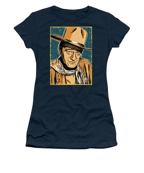 John Wayne Pop Art Women's T-Shirt (Junior Cut) by Jim Zahniser