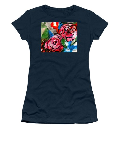 Women's T-Shirt (Athletic Fit) featuring the painting Juicy Red Roses by Joan Reese