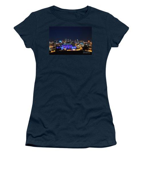 Kansas City Union Station In Blue  Women's T-Shirt (Junior Cut) by Catherine Sherman