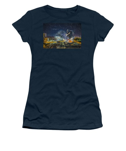 Women's T-Shirt (Junior Cut) featuring the photograph King Kong By Ford Field by Nicholas  Grunas