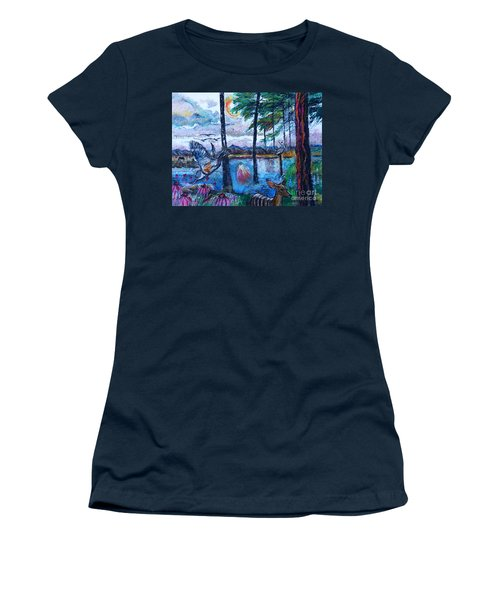 Kingfisher And Deer In Landscape Women's T-Shirt (Athletic Fit)
