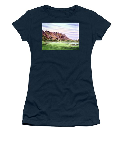 Women's T-Shirt (Athletic Fit) featuring the painting Koolau Golf Course Hawaii 16th Hole by Bill Holkham