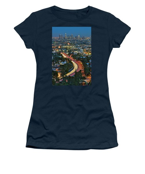 La Skyline Night Magic Hour Dusk Streaking Tail Lights Freeway Women's T-Shirt (Athletic Fit)