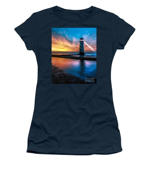 Women's T-Shirt featuring the photograph Light House Sunset by Adrian Evans